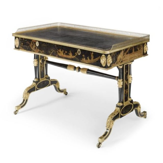Black Japanned Lacquer Writing Desk