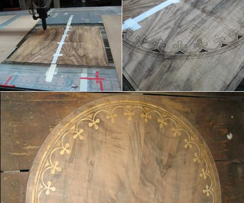 Gale Jones cutting wood veneers