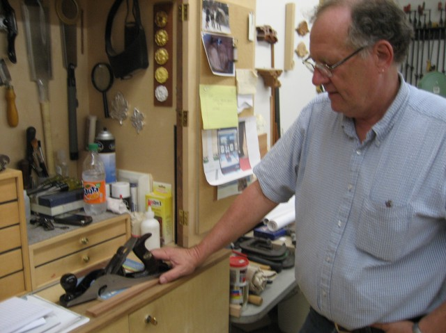 JB Gesler with his grandfather's hand plane