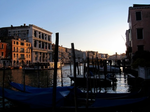Sunset over the canals of Venice